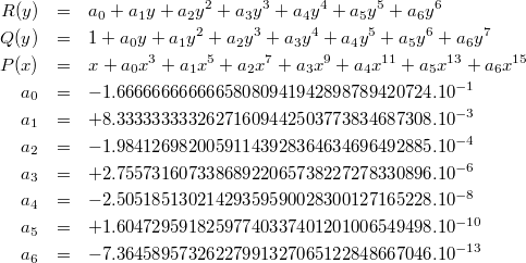 \begin{eqnarray*} R(y) & = & a_0 + a_1 y + a_2 y^2 + a_3 y^3 + a_4 y^4 + a_5 y^5 + a_6 y^6 \\ Q(y) & = & 1 + a_0 y + a_1 y^2 + a_2 y^3 + a_3 y^4 + a_4 y^5 + a_5 y^6 + a_6 y^7 \\ P(x) & = & x + a_0 x^3 + a_1 x^5 + a_2 x^7 + a_3 x^9 + a_4 x^{11} + a_5 x^{13} + a_6 x^{15} \\ a_0 & = & -1.66666666666658080941942898789420724.10^{-1} \\ a_1 & = & +8.33333333326271609442503773834687308.10^{-3} \\ a_2 & = & -1.98412698200591143928364634696492885.10^{-4} \\ a_3 & = & +2.75573160733868922065738227278330896.10^{-6} \\ a_4 & = & -2.50518513021429359590028300127165228.10^{-8} \\ a_5 & = & +1.60472959182597740337401201006549498.10^{-10} \\ a_6 & = & -7.36458957326227991327065122848667046.10^{-13} \\ \end{eqnarray*}